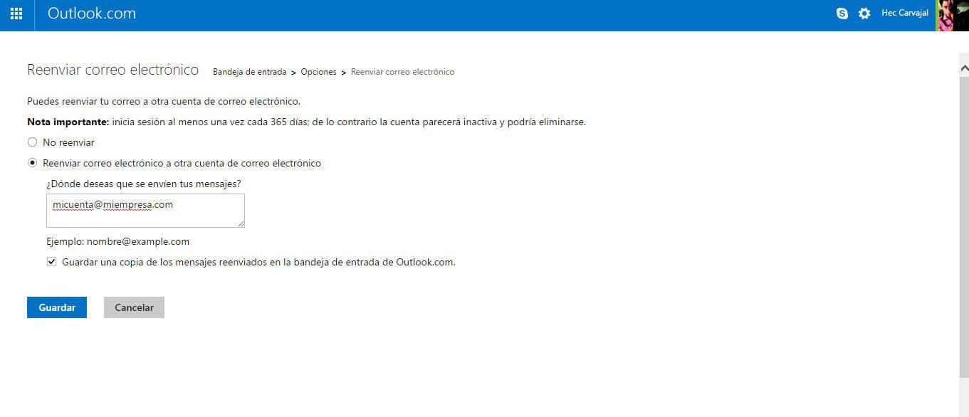 reenvio de correo electronico en hotmail