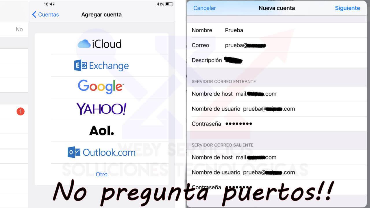 configurar cliente de correo mail iphone