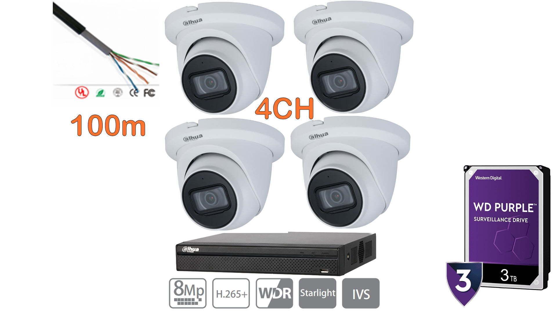 Kit NVR 4 cámaras 4K dahua 3TB purple 4 canales