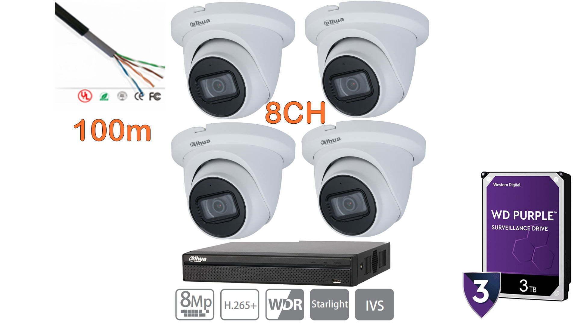 Kit NVR 4 cámaras 4K dahua 3TB purple 8 canales