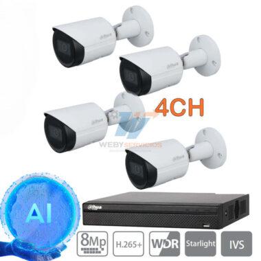 kit cámaras ip 4k dahua wizsense bullet hfw2831