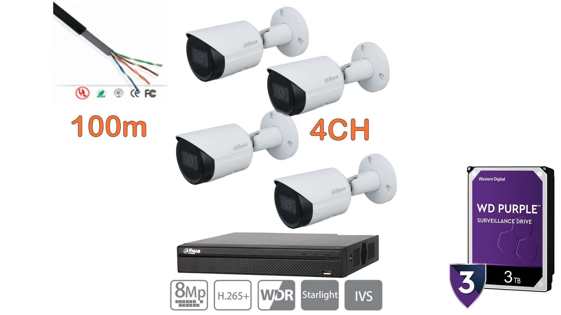 kit de cámaras dahua 4k ip nvr 4ch 3tb