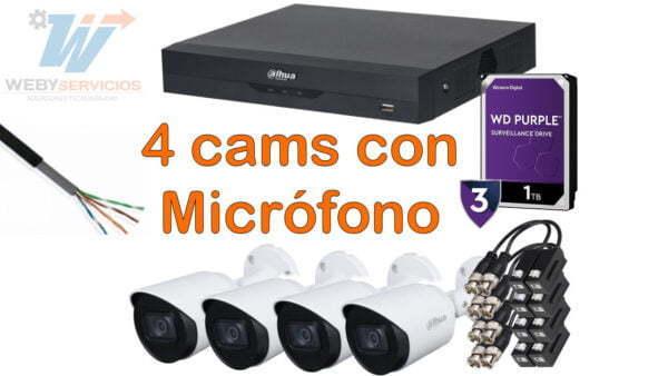 kit 4 cámaras con micrófono fullhd