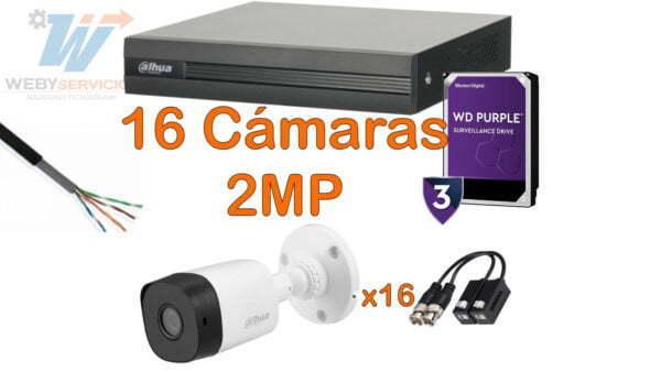 paquete 16 cámaras dahua