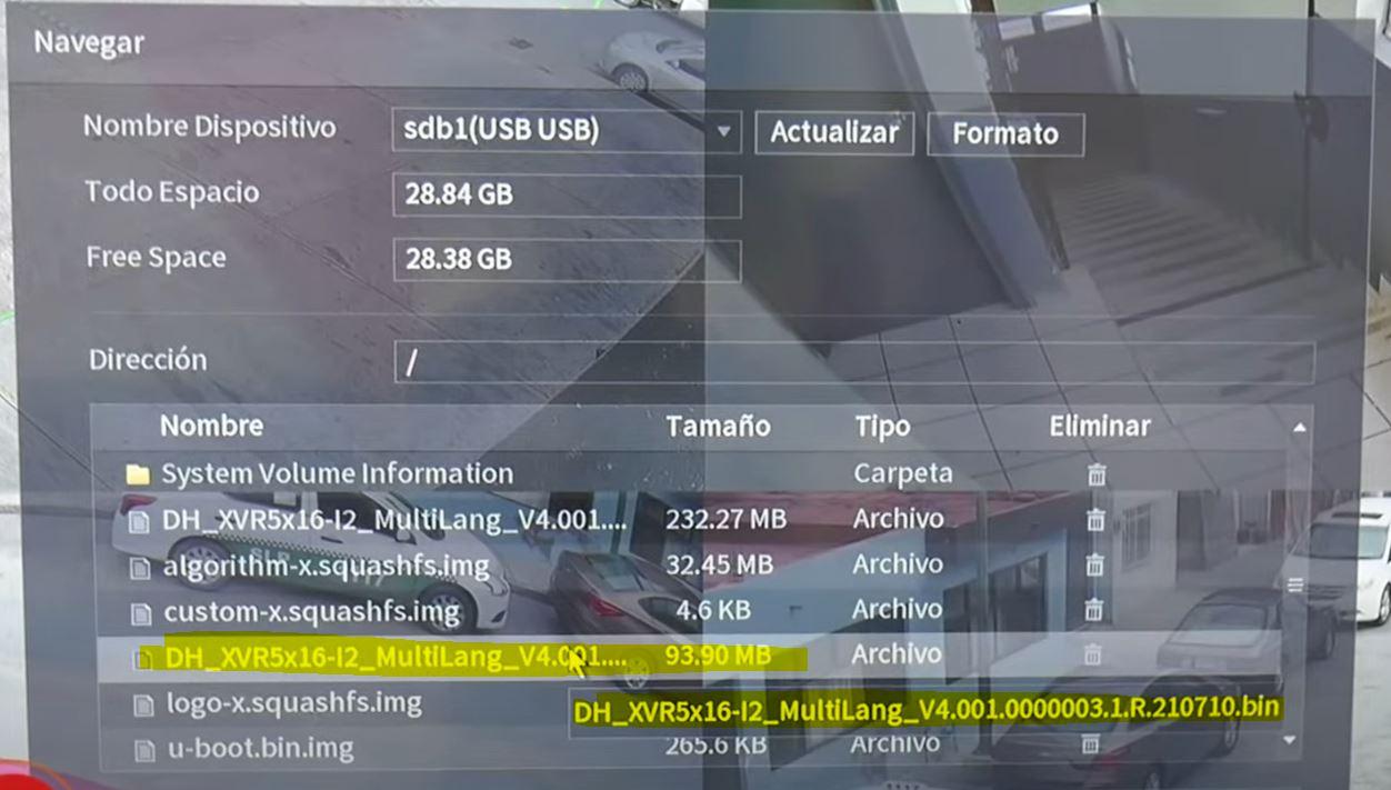 archivo para actualizar software dahua
