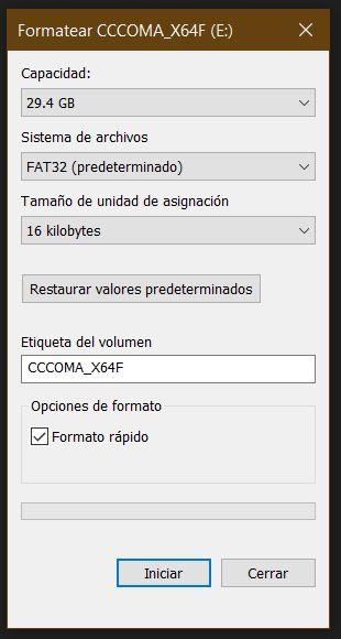 formatear memoria fat32