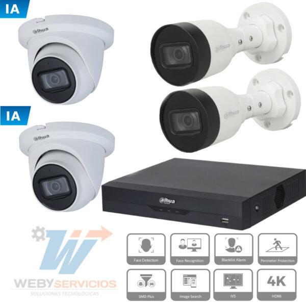 kit cámaras vigilancia ip inteligencia artificial 4mp